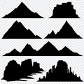 Mountain silhouette vector skyline panoramic view Royalty Free Stock Photo