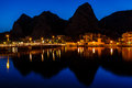Mountain Silhouettes and Illuminated Town of Omis
