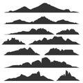 Mountain silhouettes set Royalty Free Stock Photo