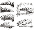 Mountain sketches Royalty Free Stock Image