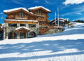 Mountain ski resort with snow in winter courchevel alps france Royalty Free Stock Image