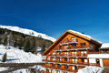 Mountain ski resort with snow in winter meribel alps france Stock Photos