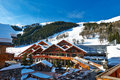 Mountain ski resort with snow in winter meribel alps france Royalty Free Stock Image