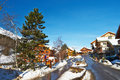 Mountain ski resort with snow in winter meribel alps france Royalty Free Stock Images