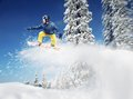 Mountain skier jump side view outdoors Royalty Free Stock Photos