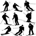 Mountain skier man speeding down slope vector sport silhouette Royalty Free Stock Photos