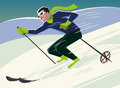 Mountain skier slides mountain vector illustration Stock Photos
