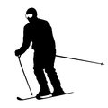 Mountain skier speeding down slope vector sport silhouette Stock Photography