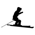 Mountain skier speeding down slope vector sport silhouette Stock Image