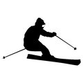 Mountain skier speeding down slope vector sport silhouette Royalty Free Stock Photos