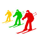 Mountain skier speeding down slope vector sport silhouette Stock Photo