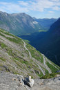 Mountain slope with serpentine road. Trollstigen. Royalty Free Stock Photos