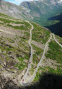 Mountain slope with serpentine road. Trollstigen. Royalty Free Stock Photo
