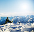 Mountain snowy winter scenery Royalty Free Stock Photo