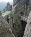 Mountain stone bridge, Huangshan, China Stock Image