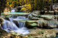 Mountain stream among the mossy stones Stock Photography