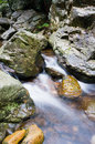 Mountain stream the through rocks Royalty Free Stock Photography