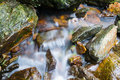 Mountain stream the through rocks Stock Photography