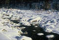 Mountain stream with snow in engadin switzerland valley Royalty Free Stock Photos
