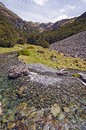 Mountain stream on a sunny day hukere the mt angelus track in new zealand Royalty Free Stock Images