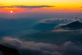 Mountain sunset summer beautiful in the landscape of the Royalty Free Stock Photography