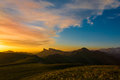 Mountain sunset summer beautiful in the landscape of the Stock Photo