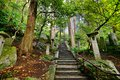 Mountain temple trail walking to yamadera in yamagata japan Stock Photos
