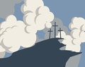 Mountain with three crosses and sky with clouds