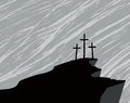 Mountain with three crosses and a storm in the sky