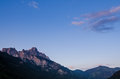 Mountain in tirol austria with reddish afterglow and blue sky Royalty Free Stock Photo