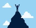 Mountain top figure standing on the of a mountaintop Royalty Free Stock Photo