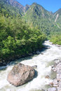 Mountain torrent the landscape of and Stock Photography