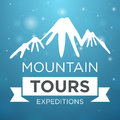 Mountain tours expedition on blue background with Stock Images
