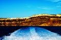 Mountain With Town Near Thera Santorini Oia Heaven Island In Greece Royalty Free Stock Photo