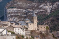 Mountain Town, Torla, Pyrenees, Ordesa y Monte Perdido National Royalty Free Stock Photos