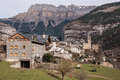 Mountain Town, Torla, Pyrenees, Ordesa y Monte Perdido National Royalty Free Stock Photography
