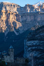 Mountain Town, Torla, Pyrenees, Ordesa y Monte Perdido National Royalty Free Stock Images