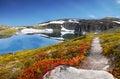 Mountain Trail Spring Landscape, Glacier Lake Royalty Free Stock Photo