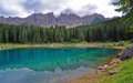 Mountain transparent lake blue and forest in the mountains Stock Images