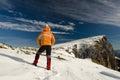 Mountain traveler in winter time landscape carphatians nceahlau Stock Photo