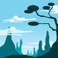 Mountain and tree scene image graphic style of in simple shape Stock Image
