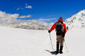 Mountain trekker looking at high winter himalayas mountains nepal Royalty Free Stock Image