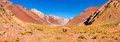 Mountain valley panorama in the andes with hikers trekking argentina south america panoramic view of Royalty Free Stock Images