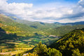 Mountain valley in pyrenees from high point aragon spain Stock Image