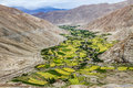 Mountain Valley and village and river-Ladakh,India Royalty Free Stock Photo