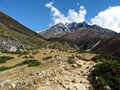 Mountain vally taken on the everest base camp trek in nepal Royalty Free Stock Images