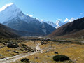 Mountain vally taken on the everest base camp trek in nepal Stock Images