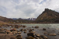 Mountain view with colorado river at a rest area in Stock Photo