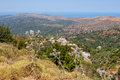 Mountain view crete greece of the countryside from mountains surrounding the lasithi plateau Stock Images