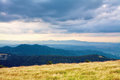 stock image of  Mountain view, hiking through the mountains, panorama. Summer hiking trip. Sky, clouds and nature in the highlands